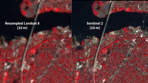 Resampled Landsat 8 (left) and Sentinel 2 (right) both at 10 m