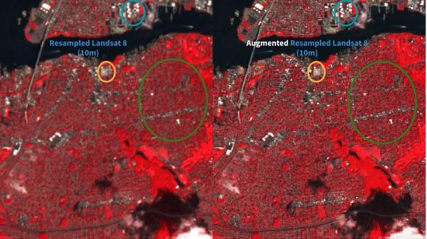 Resampled Landsat 8 (left) and Augmented Resampled Landsat 8 (right) both at 10 m