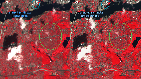Blurred Sentinel 2 (left) and Generated Sentinel 2 (right) both at 10 m
