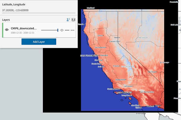 Viewing the downscaled CMIP6 model over California as a data product in the Descartes LabsPlatform