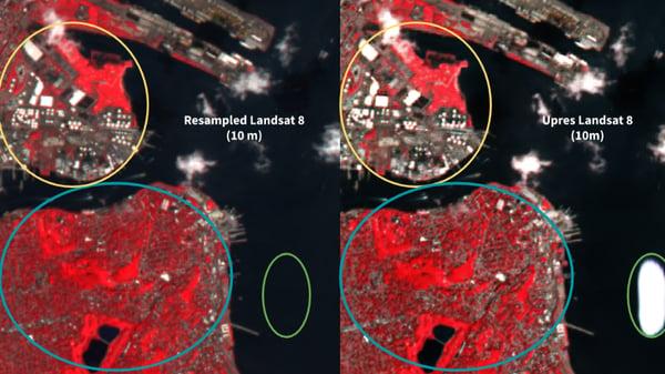 Resampled Landsat 8 (left) and Upres Landsat 8 (right) both at 10 m