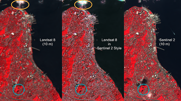 Resampled Landsat 8 (left) and Generated image from resampled Landsat 8 in Sentinel 2 style (middle) and Sentinel 2 (right), all at 10 m