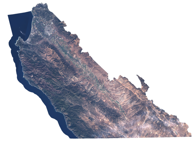 Monterey County, as seen in the Red/Green/Blue bands of the Landsat 8 sensor in late October2016