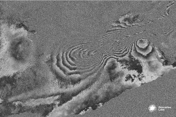 An interferogram from a pair of collections made during ascending passes
