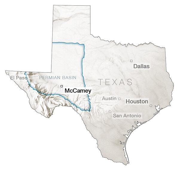 Approximate area of the Permian Basin