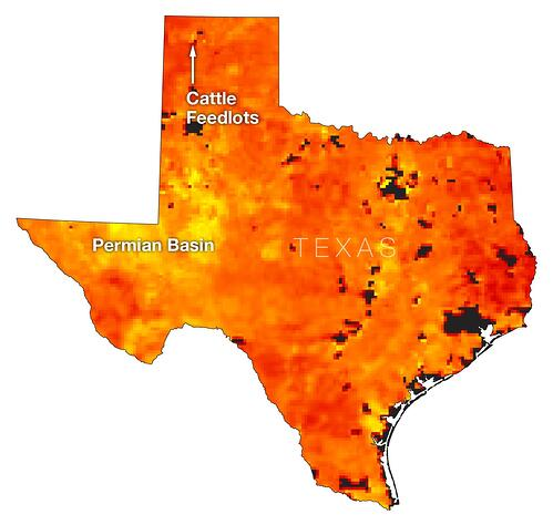 January to April, 2019 methane composite of Texas