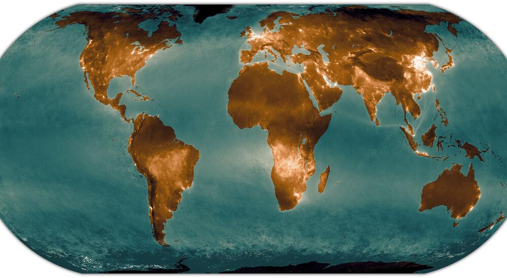 The land and water areas in this global NO₂ composite
