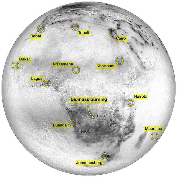Local hotspots of NO₂ around Africa