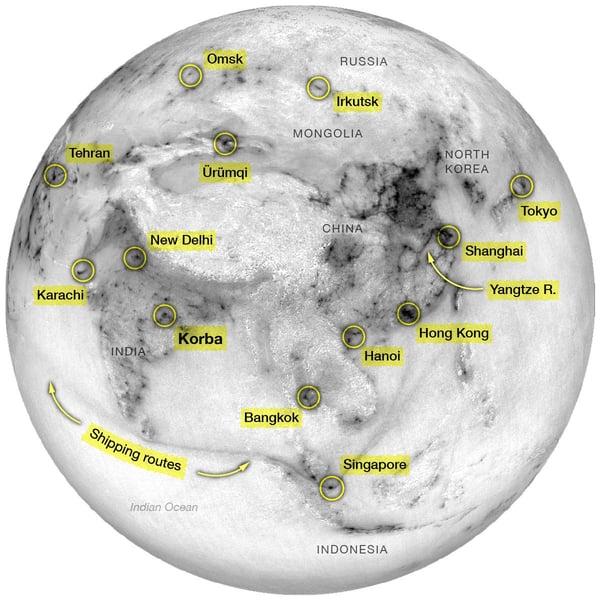 Local hotspots of NO₂ around India and China