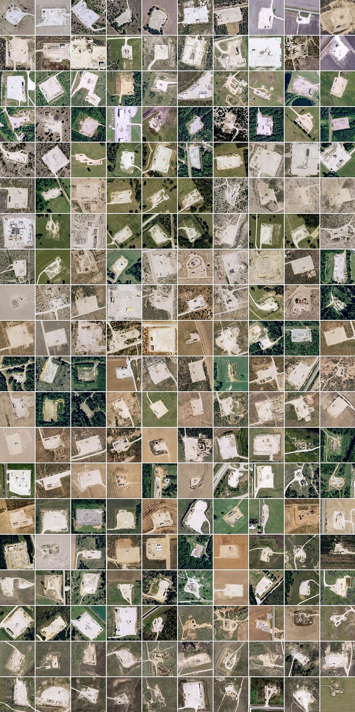 Image tiles of oil and gas well pad detections