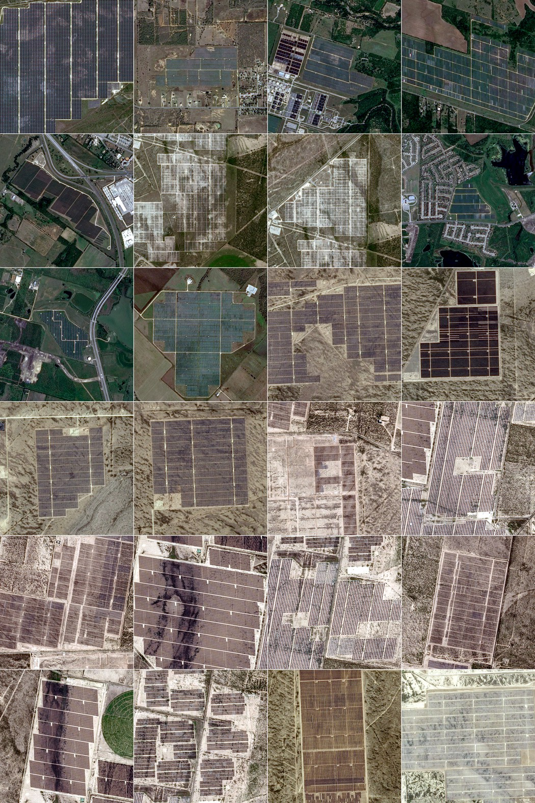 Image tiles of utility-scale solar farms in Texas