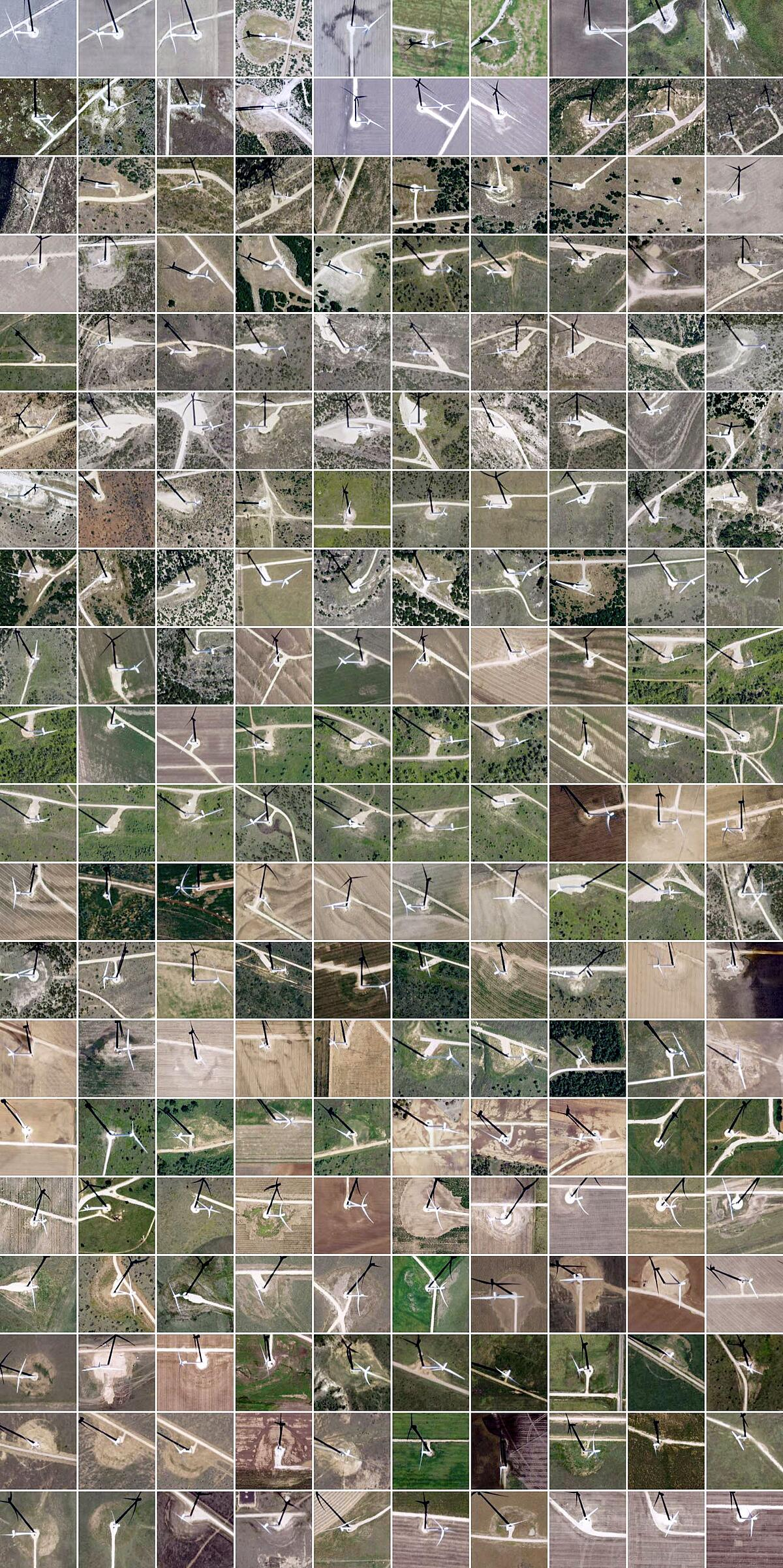 Image tiles of wind turbine detections in Texas