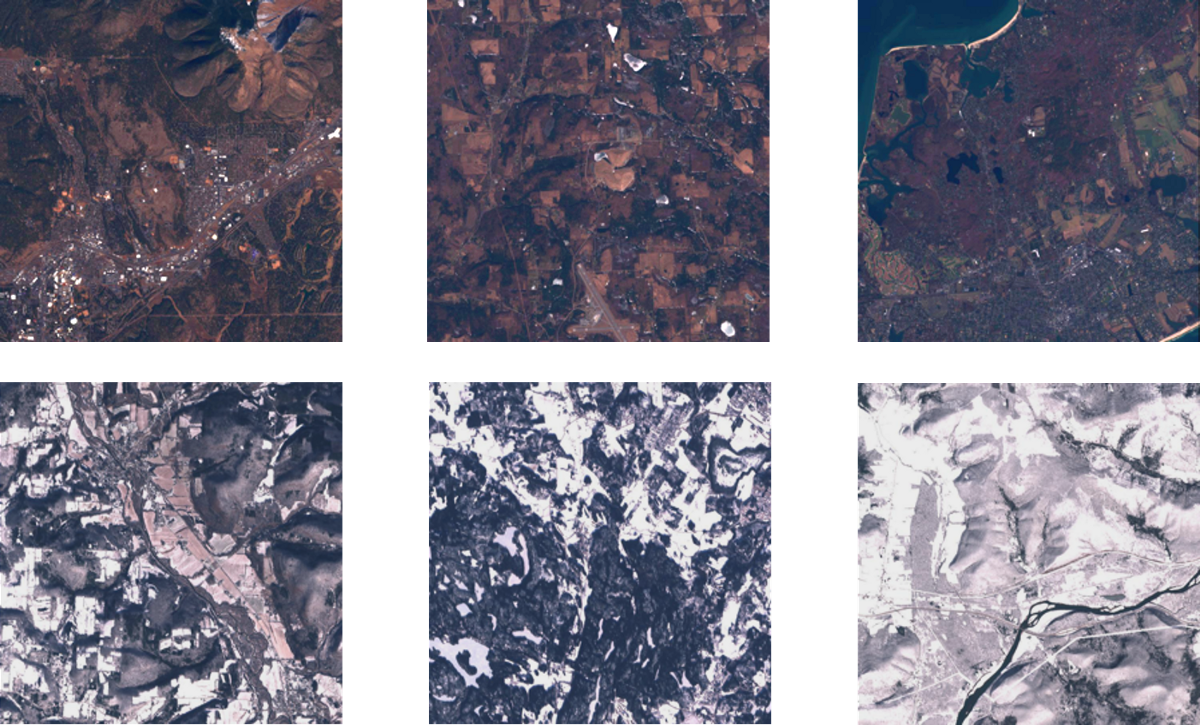 The final separated, cloudless datasets consisted of approximately 1,200 512 x 512 Sentinel-2 images for each category