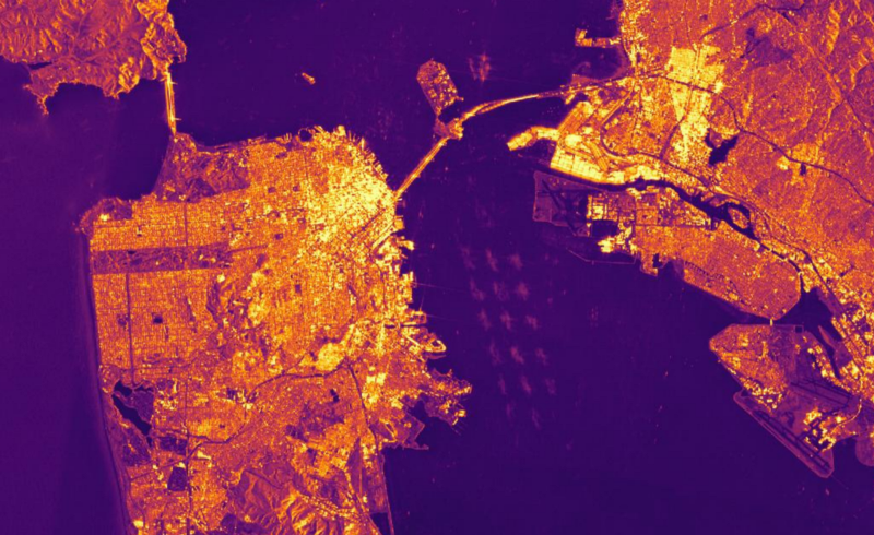 The San Francisco Bay Area, as seen with Synthetic Aperture Radar aboard the Sentinel-1 Satellites