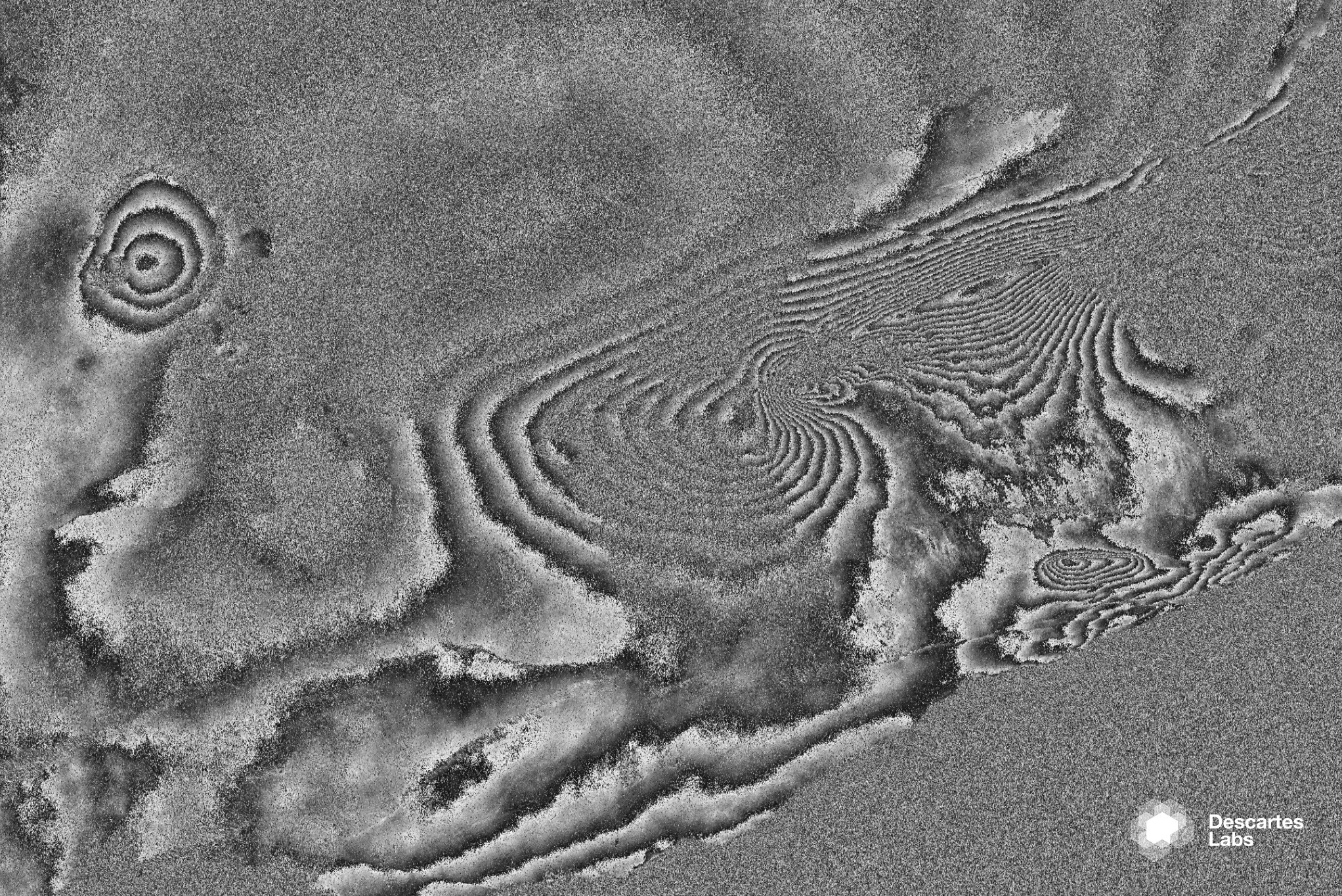 An interferogram from a pair of collections made during descending passes