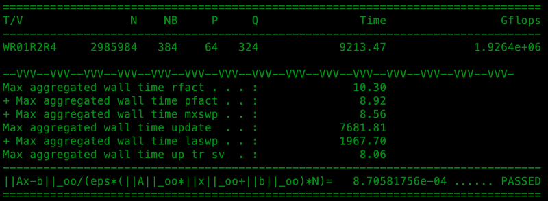 Screenshot of Descartes Labs' Linpack Benchmark score of 1.926 petaflops using publicly available cloud resources on Amazon Web Services