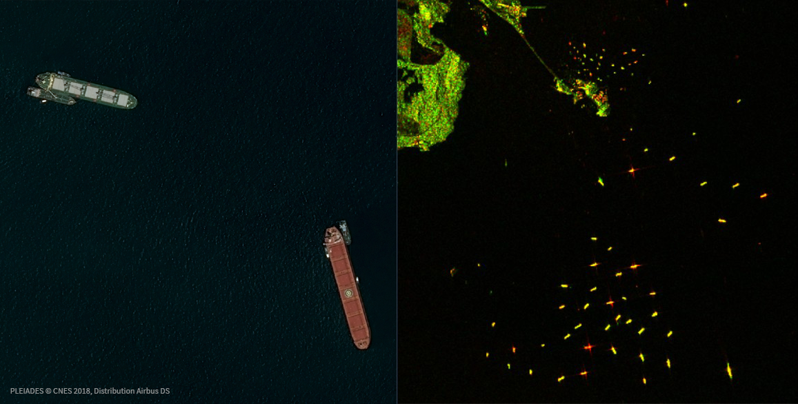 Comparison of standard optical RGB imagery (left) and SAR (right)