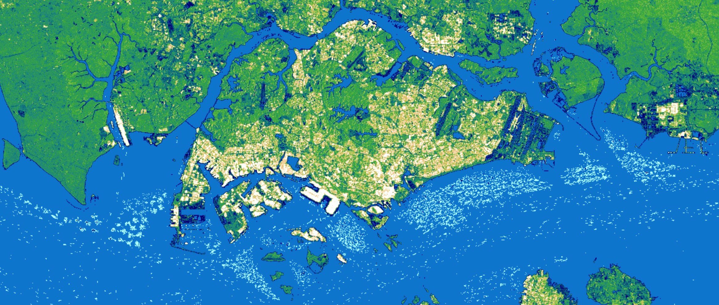 A three month Sentinel-1 SAR composite over Singapore with lighter colors capturing economic activity on land and at sea
