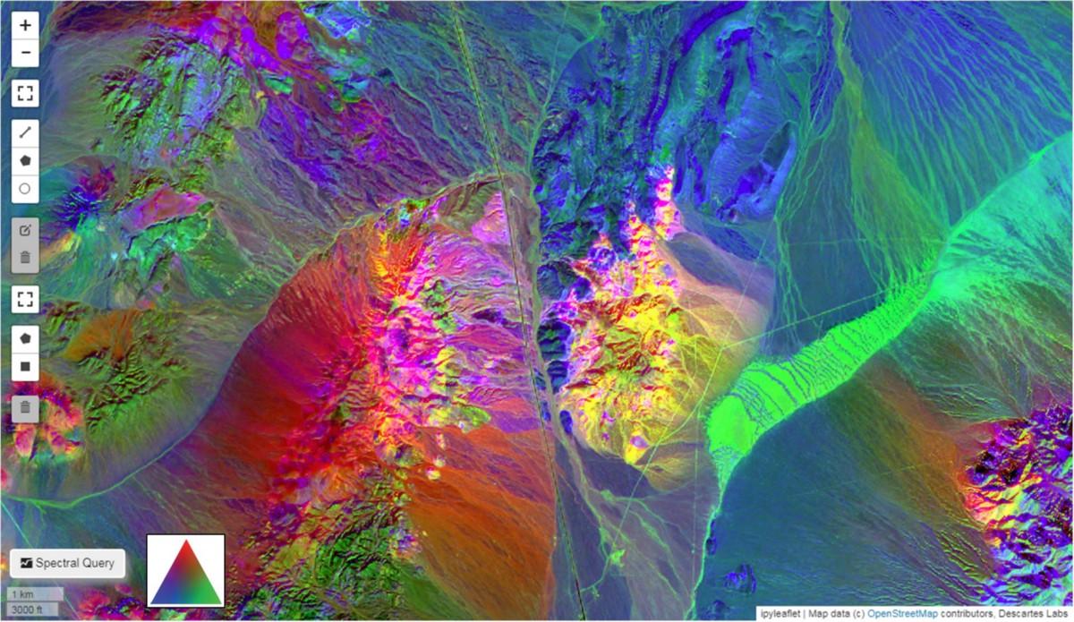 Cuprite, Nevada, USA—Descartes Labs Fused Bare Earth Composite, Ternary Plot—TRatio3