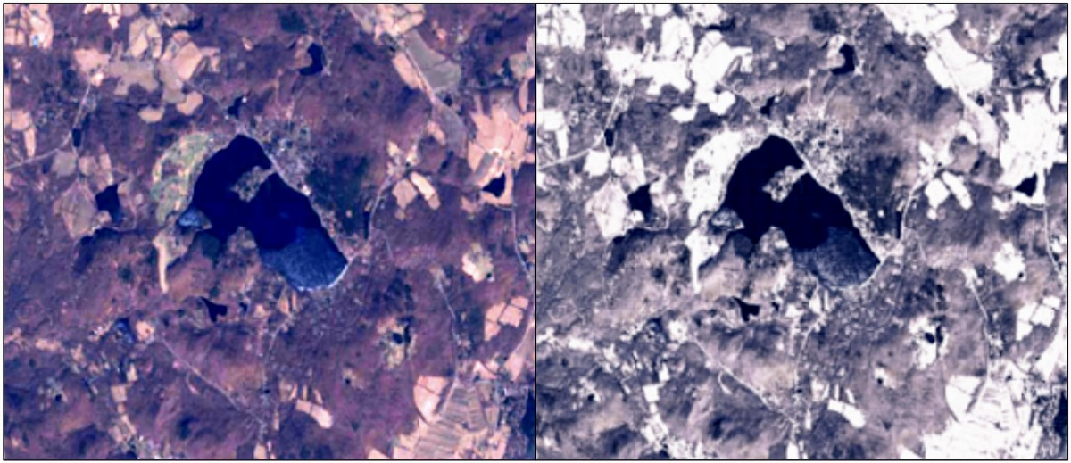 Non-snowy summertime imagery at left compared to synthetic snowy imagery over the same location atright