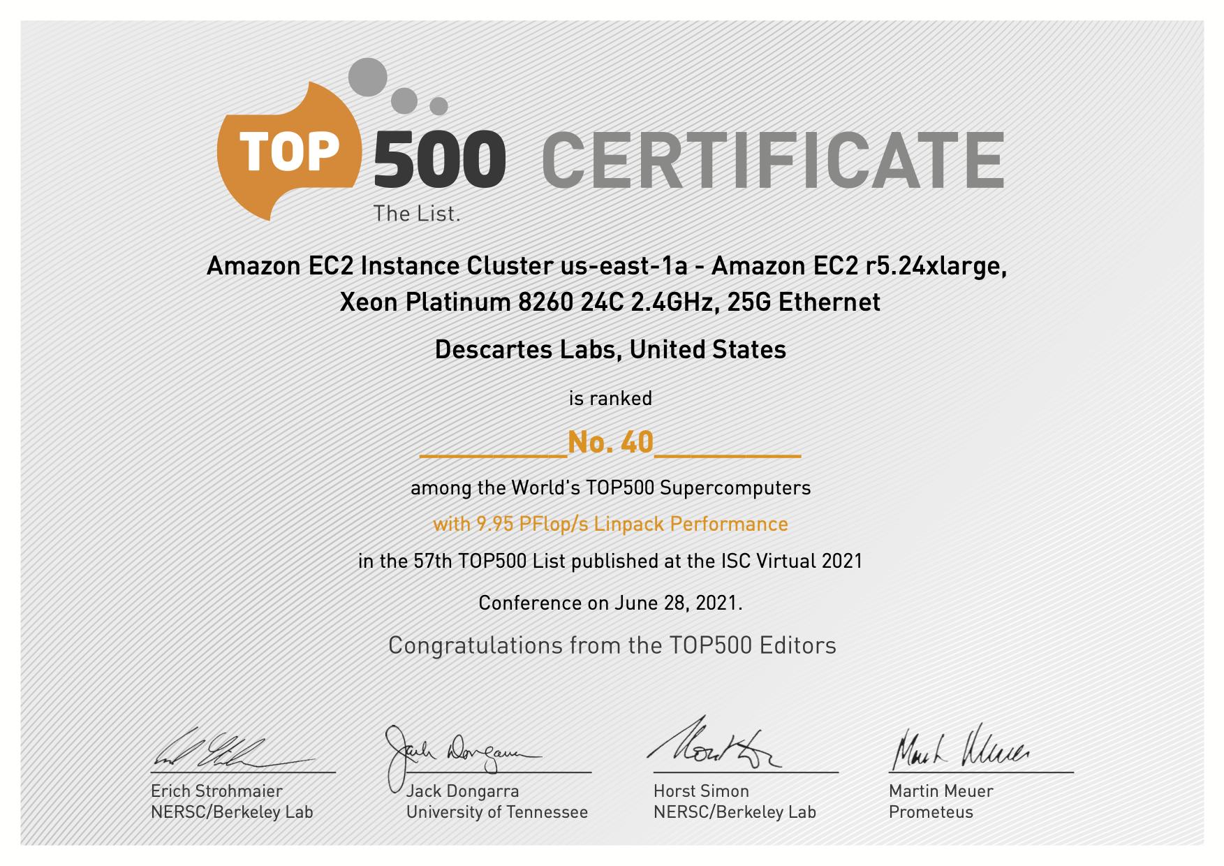 Descartes Labs TOP500 certificate