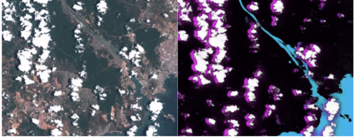 Optical image vs water/land/cloud/cloud shadow segmentation