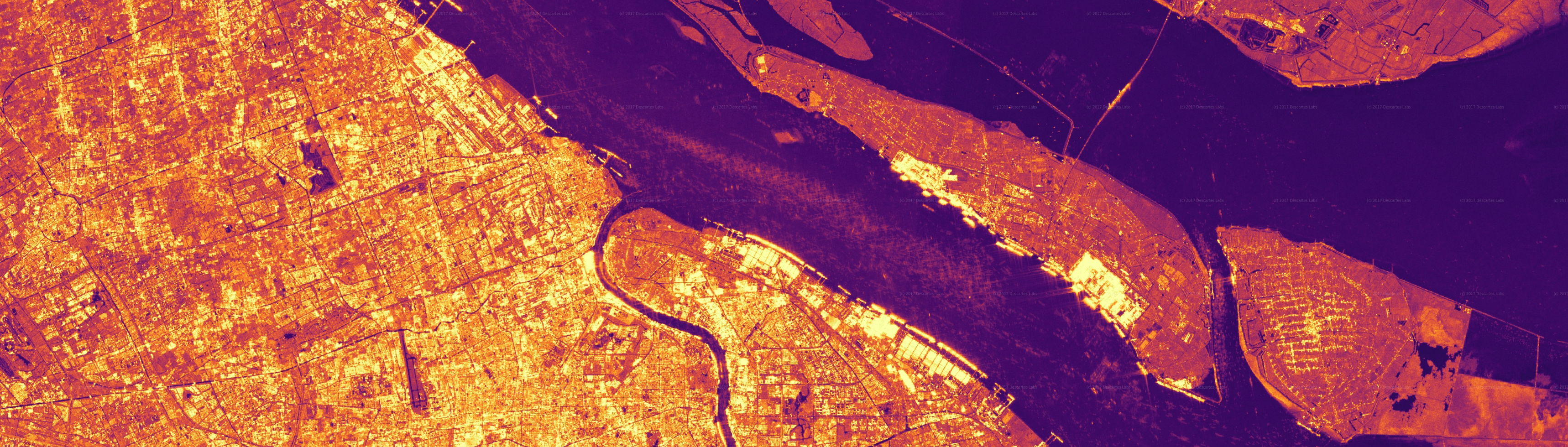 Synthetic Aperture Radar image of the the Port of Shanghai