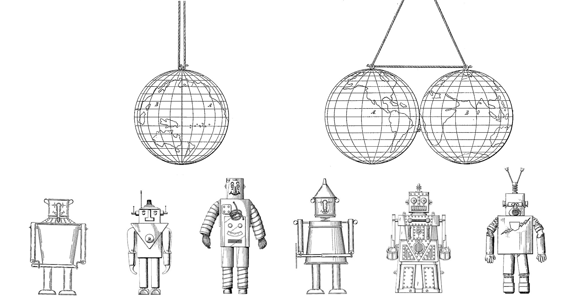 Illustrations from U.S. Patent Office filings for globes and robots